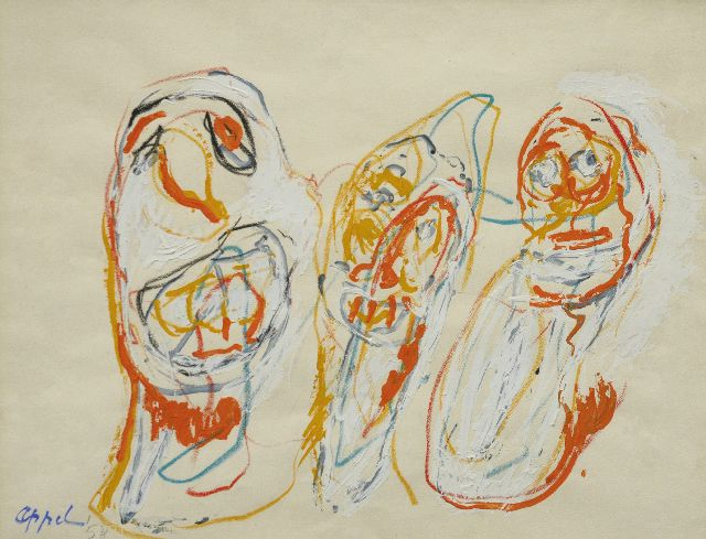Appel C.K.  | Trois clowns, wax crayons and gouache on paper 49.7 x 63.9 cm, signed l.l. and dated '58
