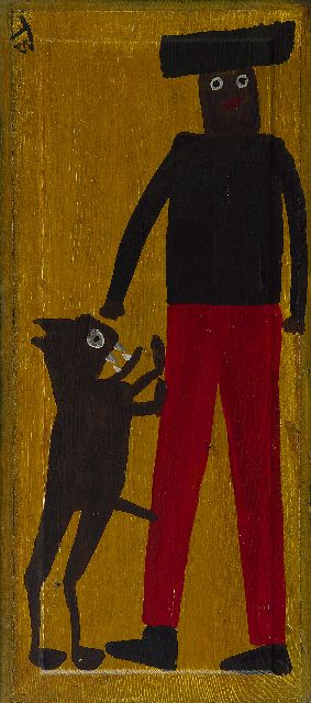 Brown T.  | Horny dog, oil on panel 60.5 x 26.5 cm, signed u.l. and marked on the reverse