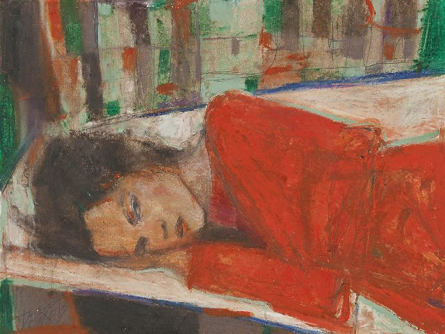 Desrets L.  | A dormir, pastel and oil on paper 25.0 x 32.1 cm, signed l.l. and on the reverse and executed in 2010