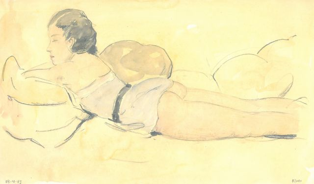 Kloos C.  | Reclining woman in a small blue dress, pencil and watercolour on paper 18.2 x 30.9 cm, signed l.r. and dated 18-4-43