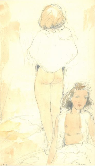 Cornelis Kloos | Two women, half naked, pencil and watercolour on paper, 30.8 x 18.0 cm, signed l.r. and dated 1-4-41