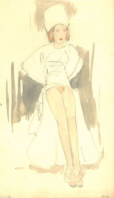 Cornelis Kloos | An elegant woman, seminude, pencil and watercolour on paper, 30.9 x 17.9 cm, signed l.r. and dated 5-4-39