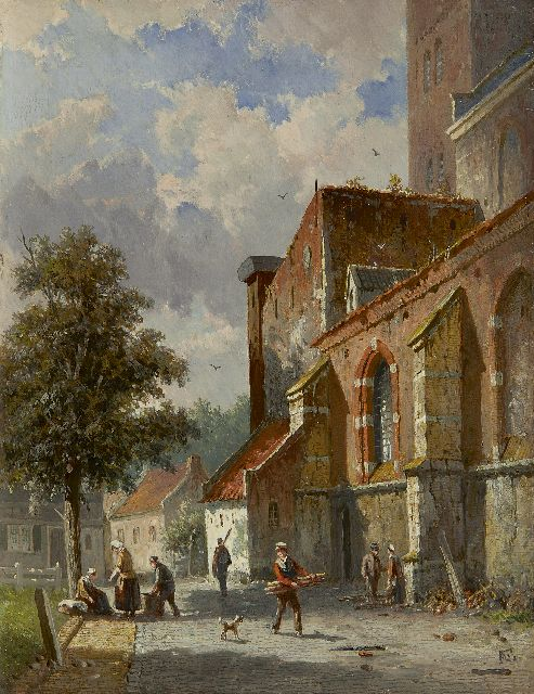 Adrianus Eversen | A village street behind the church, oil on panel, 27.0 x 20.8 cm, signed l.r. with monogram