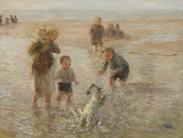 Bernard Blommers | Playing at the beach with the dog, oil on canvas, 76.3 x 100.2 cm