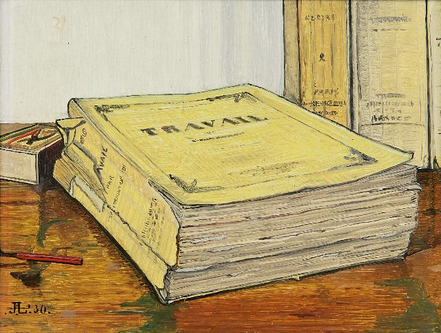Jo Lodeizen | A still life with the book 'Travail' by Emile Zola, oil on panel, 16.1 x 21.1 cm, signed l.l. with monogram and dated ' 30