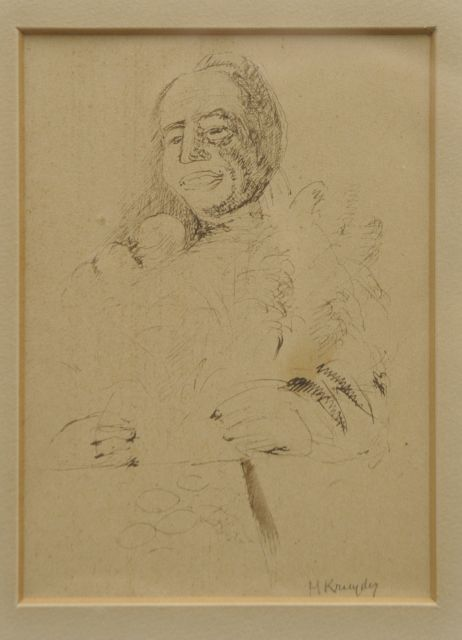 Herman Kruyder | A portrait of the collectioneur P.A. Regnault, pen and ink on paper, 11.0 x 14.5 cm, signed l.r. and executed ca. 1932