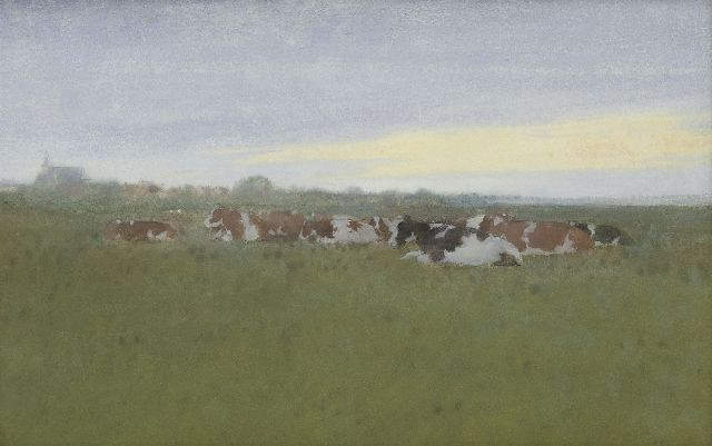 Jan Voerman sr. | Resting cows in the meadows, Hattem, watercolour on paper, 27.7 x 42.9 cm, signed l.r.