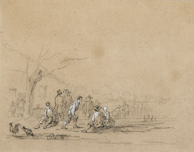 Barend Cornelis Koekkoek | A study of figures, chalk on coloured paper, 15.8 x 19.6 cm, signed l.l. with initials