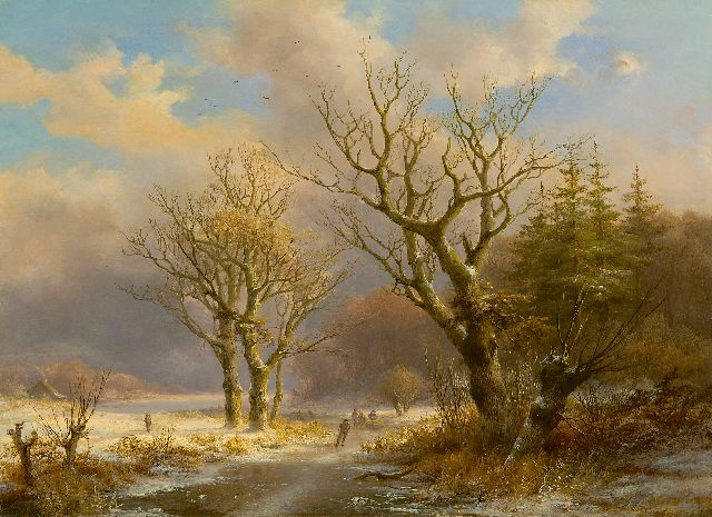 Klombeck J.B.  | A winter landscape with skaters, oil on panel 38.7 x 53.6 cm, signed l.r.