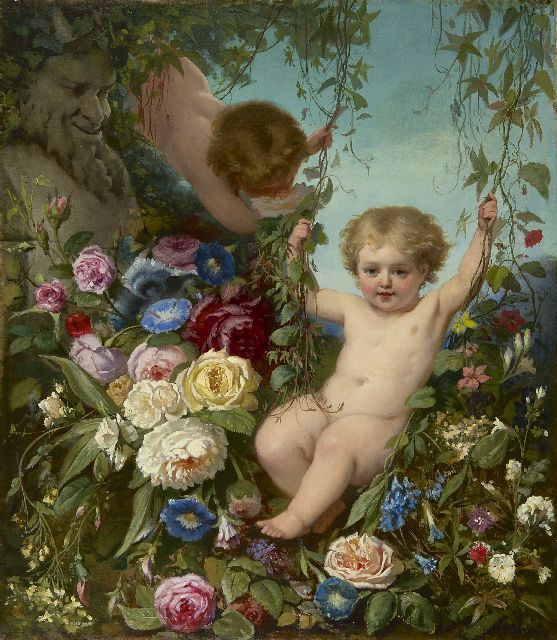 Hendrik Jacobus Scholten | Putti in a flowergarden, oil on canvas, 76.5 x 66.5 cm, signed l.r.