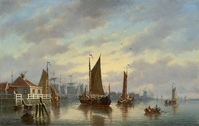 Johannes Hilverdink | Sailing vessels near a harbour entrance, oil on panel, 39.3 x 61.5 cm, signed l.l.