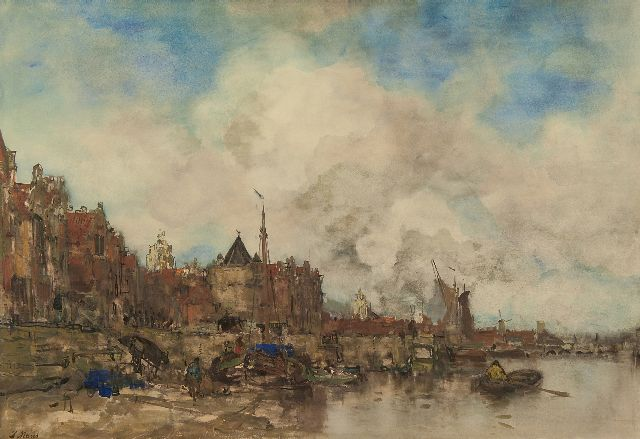 Jacob Maris | A capriccio view of Amsterdam, watercolour on paper, 64.0 x 91.0 cm, signed l.l. and painted ca. 1885