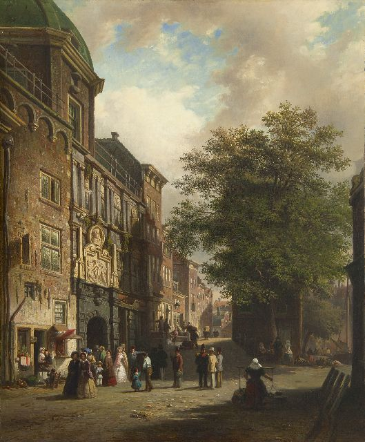 Bommel E.P. van | A view of the The Groothoofdspoort, Dordrecht, oil on canvas 65.4 x 53.2 cm