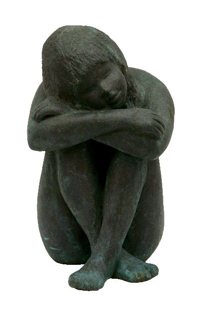Moser K.  | Dreaming, bronze 29.8 x 16.0 cm, signed with initials along lower edge