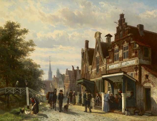 Cornelis Springer | A town view in Makkum, Friesland, oil on panel, 44.8 x 57.3 cm, signed l.r. and dated 1871