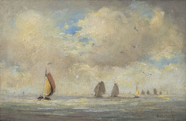Smith H.  | Sailing vessels on the Zuiderzee, oil on canvas 20.7 x 30.6 cm, signed l.r.