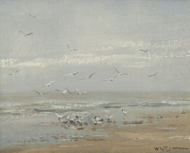 Willem George Frederik Jansen | Seagulls on the coast, oil on canvas, 19.5 x 26.0 cm, signed l.r.