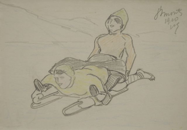 Willy Sluiter | Two on the bobsled, pencil and coloured pencil on paper, 11.3 x 16.2 cm, signed u.r. with initials and dated 1910