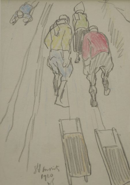Sluiter J.W.  | Pulling the sledge up the slopes, St. Moritz, pencil and coloured pencil on paper 17.0 x 11.8 cm, signed l.m. with initials and dated 1910