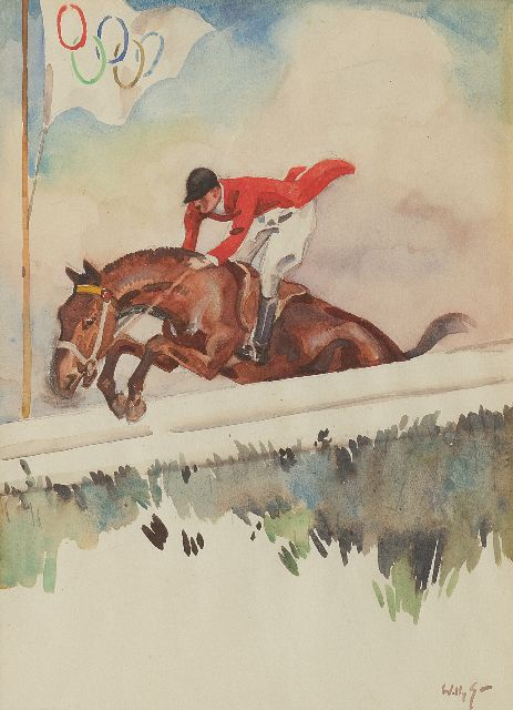 Willy Sluiter | Jockey at the Olympic Games 1928, watercolour on paper, 31.0 x 22.0 cm, signed l.r. and painted ca. 1928