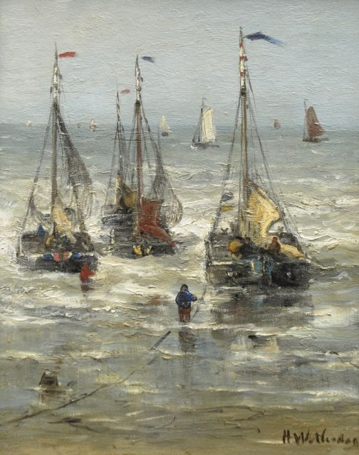 Hendrik Willem Mesdag | Sailing out to sea, oil on panel, 30.0 x 24.8 cm, signed l.r.