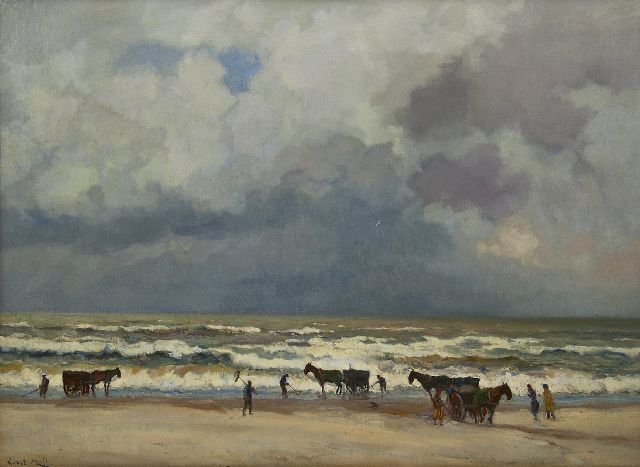 Evert Moll | Shrimp fishing on the beach, oil on canvas, 66.0 x 91.0 cm, signed l.l.