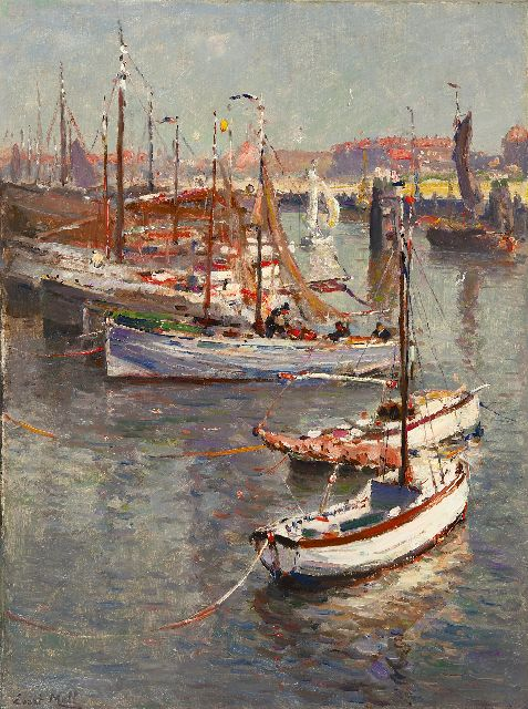 Evert Moll | The harbour of Scheveningen, oil on canvas, 80.4 x 60.3 cm, signed l.l.