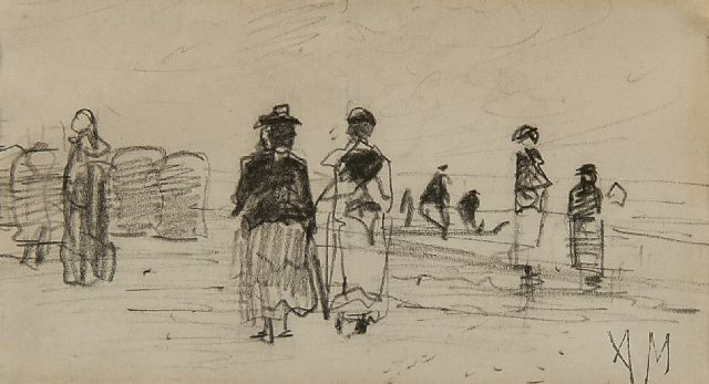 Anton Mauve | Strolling along the beach, pencil on paper, 7.7 x 13.4 cm, signed l.r. with studio stamp (AM)