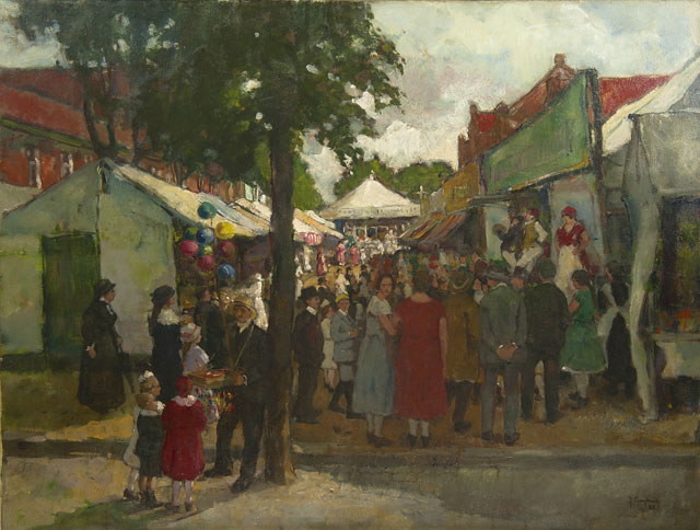 Julien Creytens | Fair in Oedt, Germany, oil on canvas, 79.0 x 102.3 cm, signed l.r. and dated '24