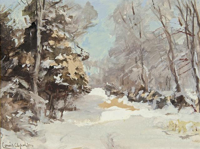 Louis Apol | Winter forest path, gouache on paper, 15.5 x 20.6 cm, signed l.l.