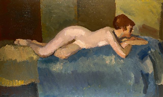 Kees Maks | Reclining nude on a sofa, oil on canvas, 106.5 x 177.0 cm, signed l.l.
