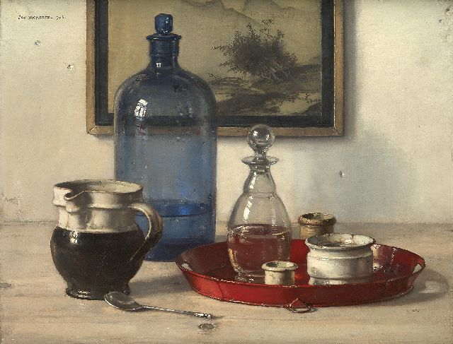 Bogaerts J.J.M.  | Still life with blue bottle and jars, oil on canvas 34.7 x 45.4 cm, signed u.l. and dated 1943