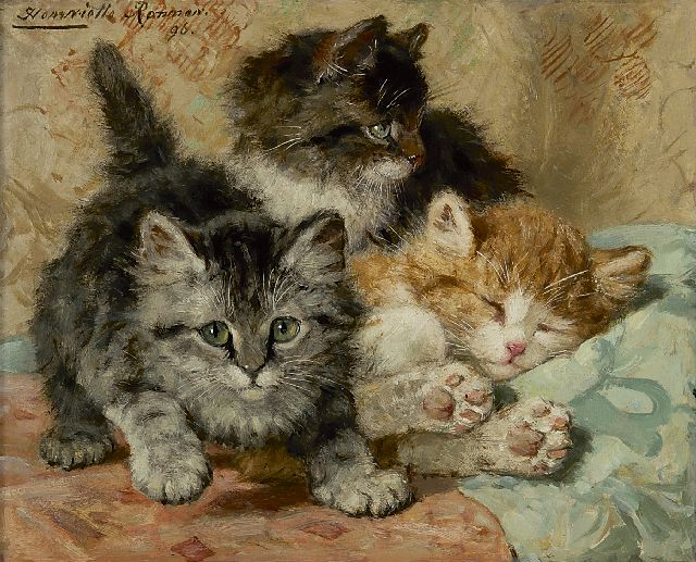 Henriette Ronner-Knip | Three cats, oil on panel, 19.6 x 23.6 cm, signed u.l. and dated '96