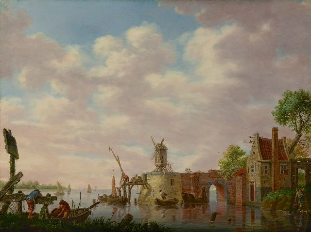Schweickhardt H.W.  | A Dutch river landscape with fishermen, oil on panel 30.8 x 41.2 cm, signed l.l. on a wooden fence