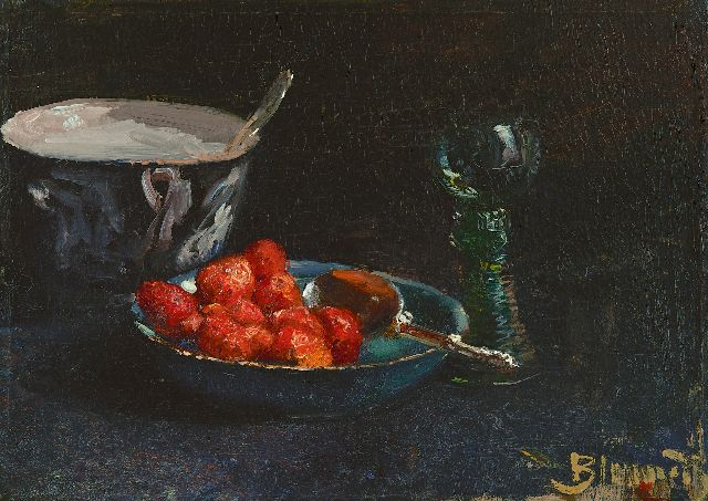 Blommers B.J.  | Strawberries with whipped cream and a Rhine wine glass, oil on canvas 28.8 x 40.0 cm, signed l.r. and painted ca. 1880
