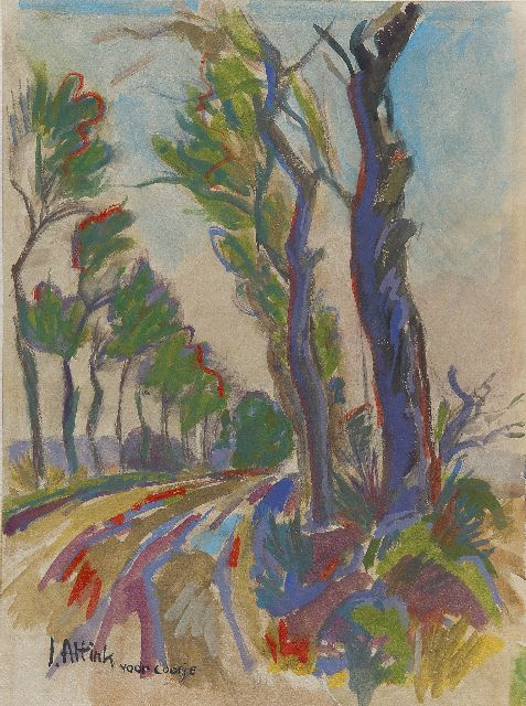 Jan Altink | A country road with trees, watercolour on paper, 39.2 x 29.0 cm, signed l.l.