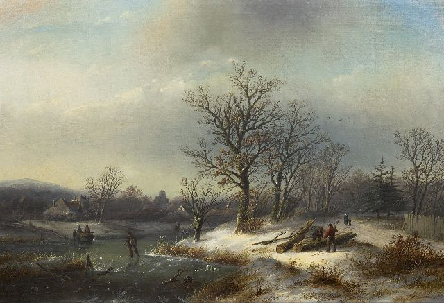 Jacob Jan Coenraad Spohler | Winter landscape with jumberjacks and skaters, oil on canvas, 65.0 x 95.3 cm, signed l.l.
