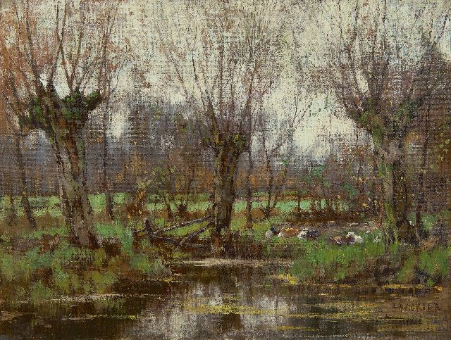 Arnold Marc Gorter | Pollard willows along the Vordense Beek, oil on canvas, 32.2 x 43.4 cm, signed l.r.