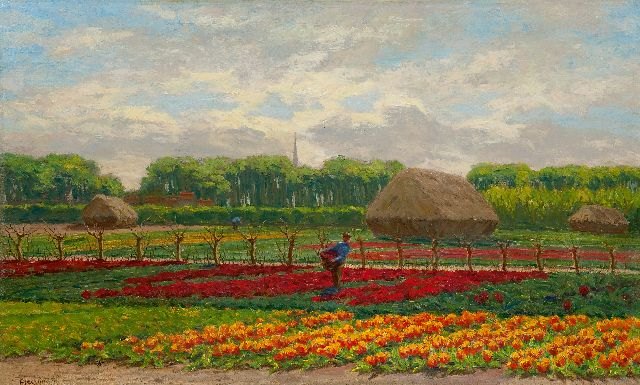 Wilhelm Christiaan Constant Bleckmann | Farmers working in a bulb field, oil on canvas, 58.4 x 95.5 cm, signed l.l.