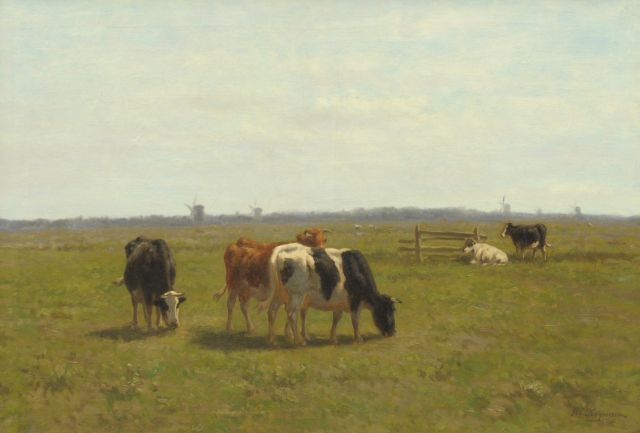 Herman Bogman | Cows in a polder landscape, oil on canvas, 70.5 x 100.8 cm, signed l.r.