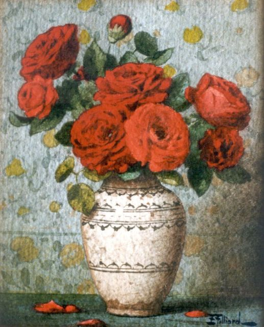 Ernest Filliard | Roses, watercolour on paper, 16.7 x 13.5 cm, signed l.r.