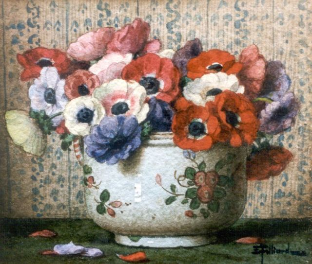 Filliard E.  | Anemones, watercolour on paper 13.5 x 16.0 cm, signed l.r.