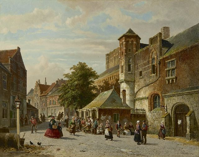Adrianus Eversen | A town view with a fish stall, oil on canvas, 56.2 x 70.2 cm, signed l.r. and l.l. with monogram