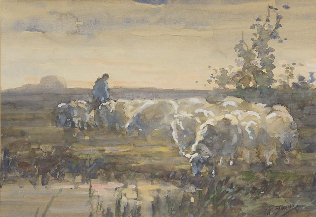 Willem Steelink jr. | A shepherd with his sheep, watercolour on paper, 28.0 x 41.0 cm, signed l.r.