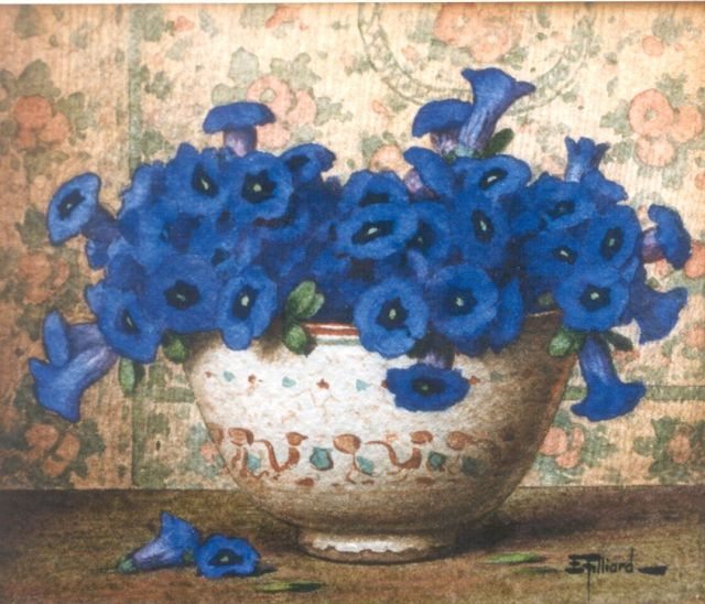 Ernest Filliard | Gentians, watercolour on paper, 13.5 x 16.2 cm, signed l.r.