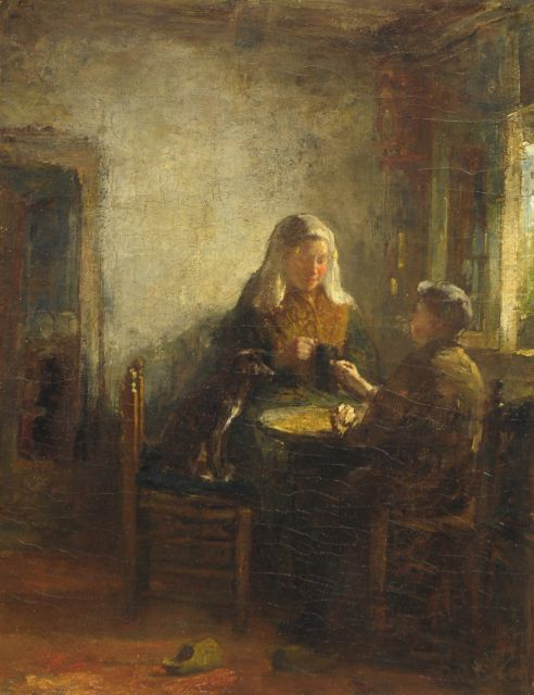 Henricus Joannes Mélis | Woman from Zeeland with boy and dog, oil on canvas, 50.5 x 39.5 cm, signed l.r.