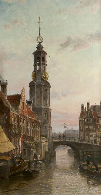 Cornelis Christiaan Dommelshuizen | A view of the Munttoren in Amsterdam, oil on canvas, 97.5 x 51.8 cm, signed l.l. with initials