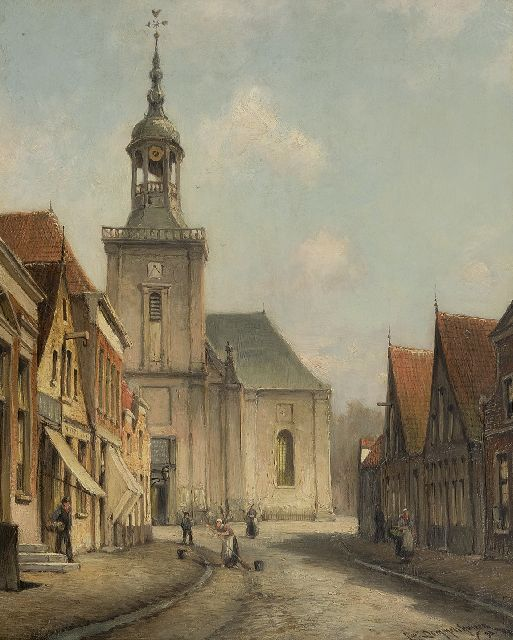 Cornelis Christiaan Dommelshuizen | A view of the Kerkstraat in Almelo, oil on canvas, 38.6 x 31.5 cm, signed l.r. and dated '98