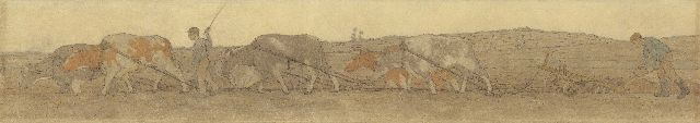 Co Breman | Ploughing farmers, chalk and gouache on paper, 36.0 x 208.0 cm, signed l.r. and dated 1908