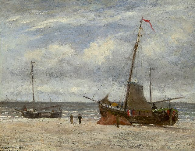Jan Heppener | Fishing boats on the beach, oil on panel, 23.5 x 30.2 cm, signed l.l. and dated 18[?]